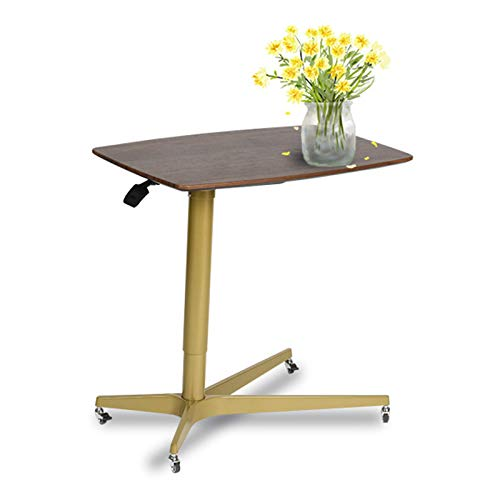 Pneumatic adjustable height laptop desk, sit-stand mobile, ergonomic design, excellent computer workstation for classrooms, offices and homes! 30 inches x 19 inches (about 76 cm x 48 cm),Walnut