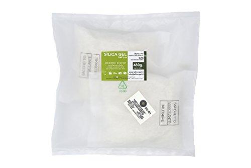 Disidry Silicagel - 2 sacchetti disidratanti 480 grammi silica gel (desiccant, gel di silice, gelo di silice), assorbi umidità rinnovabile.