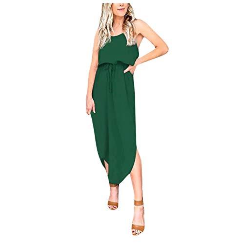 Damen Sommerkleid, Mode Casual Solid äRmelloses Side Split O-Neck Strapskleid Elegant ÄRmellos Strandkleid Lange Kleid Midikleid