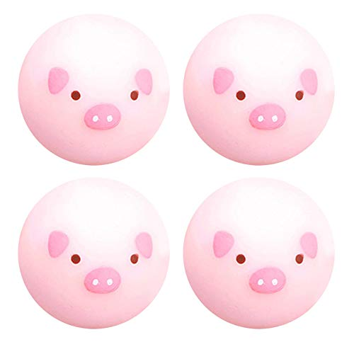 4 PCS Luminescent Pig Stress Balls Sensory Stress Relief Toys Sticky Wall Balls Squeeze Toy Ball for Kids and Adults Anti Stress Sensory Ball Squeeze Toys