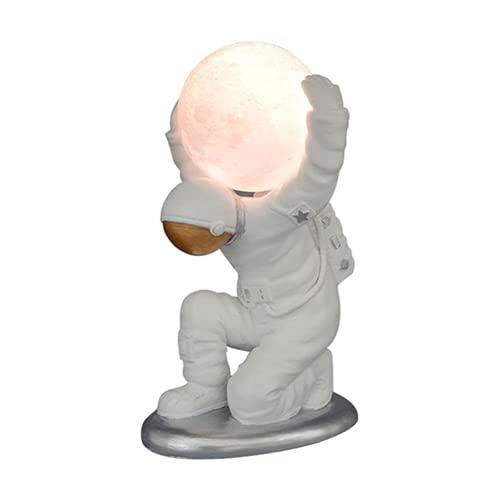 Cakunmik Moderna Creativa Ornamenti per Astronauti Lampada da Tavolo Luce Notturna Lunare in Resina...