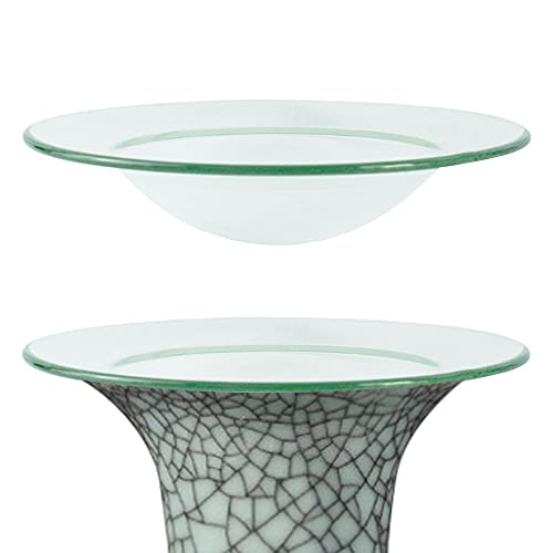 AFASOES 2 Pcs Cuenco de Cristal de Repuesto Plato de Cera de Aceite para Lámpara Aromática/Aromática, Transparente, 12 cm de Diámetro, Profundidad: 2.8cm