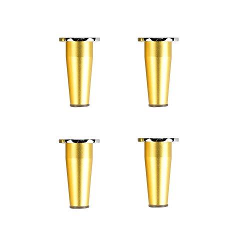 4PCS patas cónicas para muebles, aleación de aluminio con acabado de níquel cepillado, patas ajustables de acero inoxidable (dorado y plata), para escritorio de bricolaje(dorado20CM)