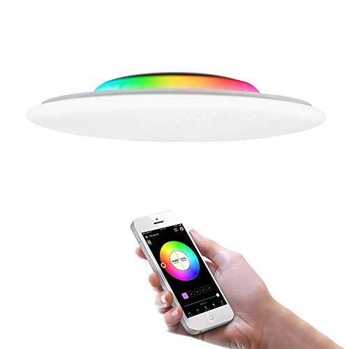 OFFDARKS Smart WiFi Plafón Compatible con Amazon Alexa y Google Assistant, Lámpara de techo LED regulable moderna Cambio de color Ambiente Fiesta para sala de estar Dormitorio Luz de noche