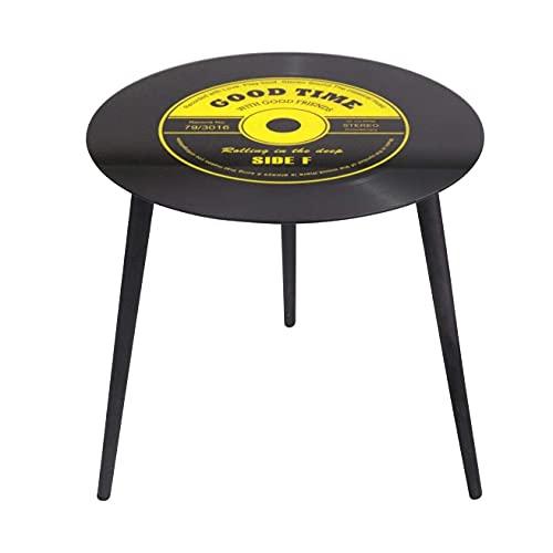 Lifetime Table APPOINT Basse Ronde Retro Disque Vinyle Verre ET Metal Salon Design