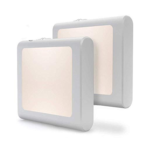 [2Pack] Vintar Plug-in Led Night Light with Auto Dusk to Dawn Sensor,Adjustable Brightness Warm White Lights for Hallway,Bedroom, Kids Room, Kitchen, Stairway,Bathroom