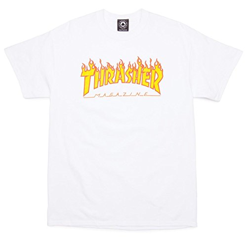 Thrasher Men's Flame Logo Shirt,White,XX-Large