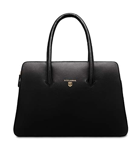 STILBURG handtas laptoptas 15 inch dames van leer | Model: Elisabeth, Gold Line (zwart) - 4250918933372