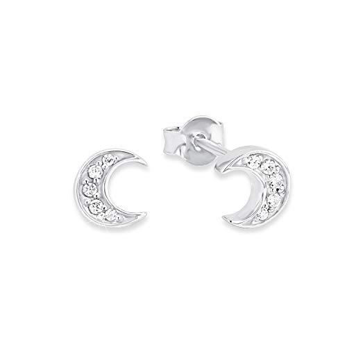amor Ohrstecker für Damen 0,7cm Mond Halbmond 925 Silber rhodiniert Zirkonia weiß