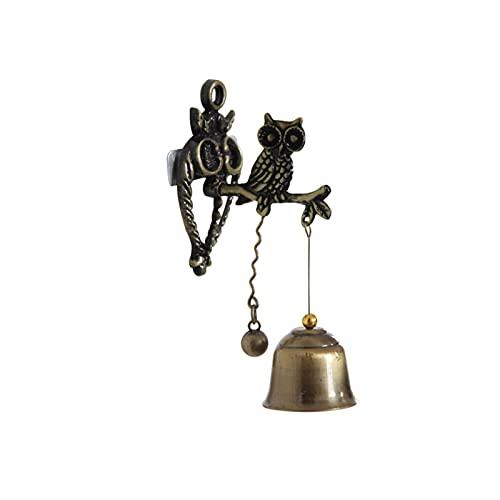Vintage Caballo Elefante Búho Formado Bell Doorbell Halloween Campanas de Navidad Puerta Colgante, Soportes de Cesta Colgante, Decoración para el Hogar Decoraciones (Color : Owl)