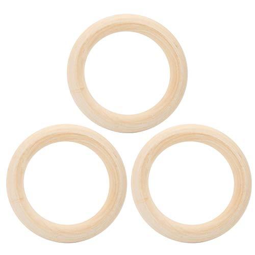 3 piezas de anillos de madera, círculos de madera sin terminar lisos naturales para bricolaje anillo de dentición de bebé conectores colgantes artesanales fabricación de joyas(95mm)