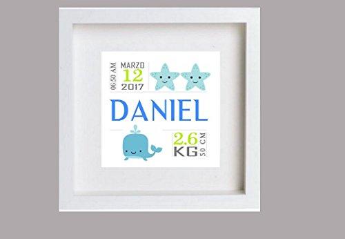 Cuadro de nacimiento para bebé (Daniel). Personalizado.Puedes elegir 1 unidad o el...