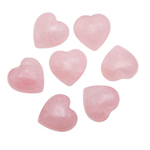 Loveliome 7 Pcs Natural Mini Rose Quartz Heart Love Healing Palm Crystal Energy Stone(0.6 Inch)