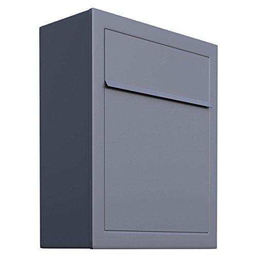 Brievenbus, design muurbrievenbus base grijs metallic - Bravios