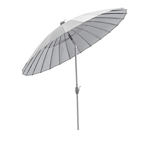 SORARA Shanghai Parasol de Jardin Exterieur | Gris | ø 260 cm | Rond | Mécanisme à Manivelle, Fonction d'inclinaison (Pied excl.)