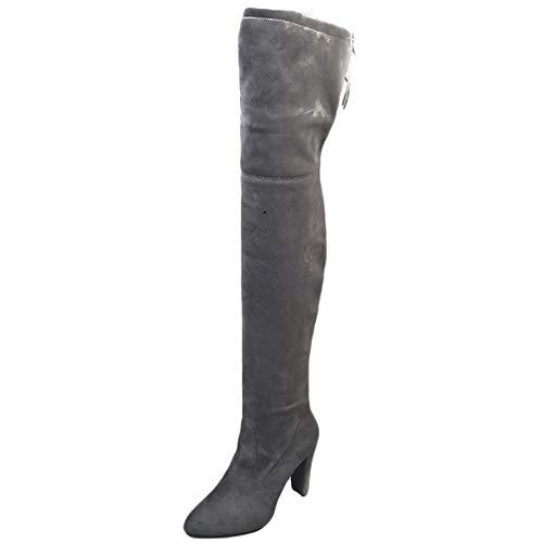 WanYangg Overknee Stiefel Wildleder Boots Damen, Absatzschuhe Stiefel Overknees mit Blockabsatz Winter Stiefel High Heels Schuhe Stiefel Grau 41EU