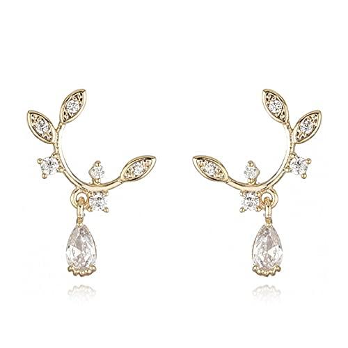HCMA Pendientes de botón de Cristal de árbol de Gota exquisitos franceses chapados en Oro de 14k joyería de Fiesta de Personalidad Simple para Mujer