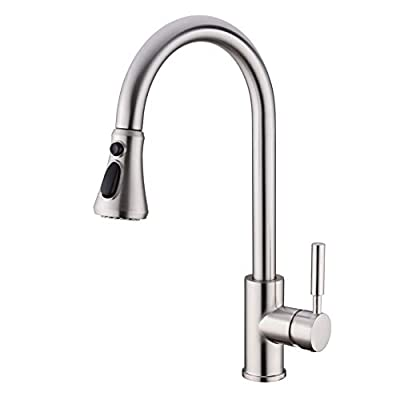 Kitchen Faucet, Single Handle High Arc Pull Out Kitchen Sink Faucet, Single Level Brass Kitchen Sink Faucets with Pull Down Sprayer,Brushed Nickel