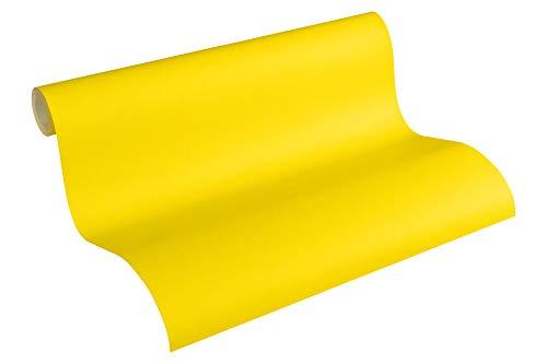 A.S. Création PVC-freie Vliestapete Little Stars Tapete Uni 10,05 m x 0,53 m gelb Made in Germany 358347 35834-7