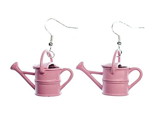 Miniblings Gießkannen Garten Blumen gießen Ohrringe - Handmade Modeschmuck I Kanne Hobby rosa - Ohrhänger Ohrschmuck versilbert