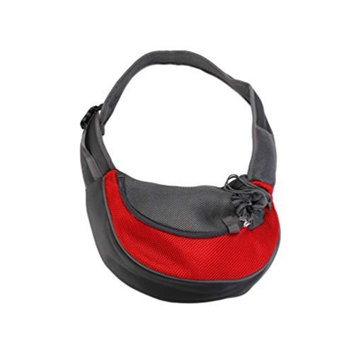 Kairunn Haustier Tragetaschen für Kleine Hunde und Katzen weich Tragetasche Sling Schulter Bag Hundetragetasche Schultertasche Rot