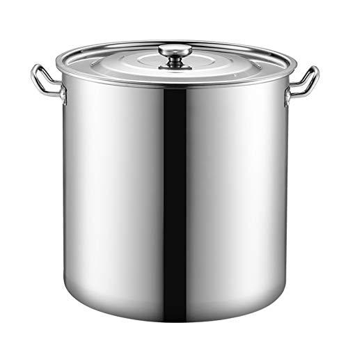 Contenedor de leche de acero inoxidable 304 con tapa para sopa, gran capacidad engrosada para la producción de leche (tamaño: 30 L)