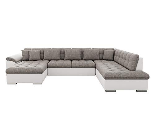 Mirjan24 Eckcouch Ecksofa Niko! Design Sofa Couch! mit Schlaffunktion! U-Sofa Große Farbauswahl! Wohnlandschaft! (Ecksofa Links, Soft 017 + Lawa 05)