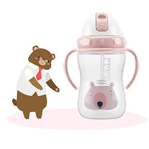 Biberón de dibujos animados para bebés Bebedero para bebés Taza de entrenamiento para bebés Taza para niños Aprender a beber Leche infantil Botella de agua Paja 300Ml