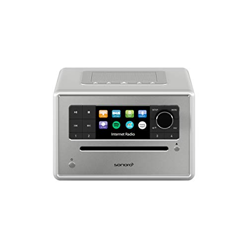sonoro Elite Internetradio mit CD-Player (UKW/FM/DAB+/WLAN, CD, AUX, Bluetooth, Spotify) Silber (2018)