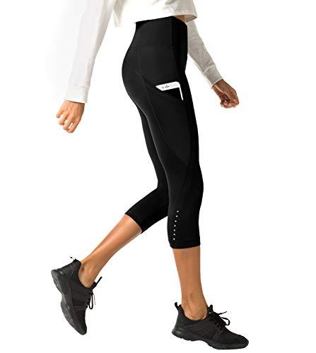LAPASA Donna 3/4 Capri Leggings Sportivi Con Tasche Laterali Pantaloni Fitness Per Yoga Allenamento Palestra L33 (Medium, 01.Nero super opaco(Tasche laterali) 2)