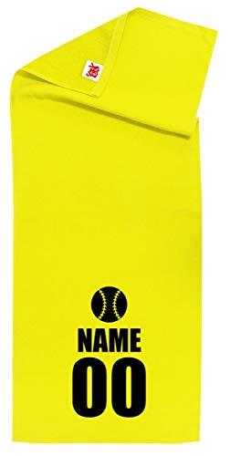/ZZZB/名入れ 【スポーツ】【野球アイコン】【黄シャーリングタオル】【黒文字】【フリー】 PRIME