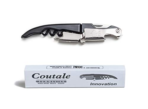 Innovation Waiters Corkscrew By Coutale Sommelier - Black - French Patented Manual Double Lever Wine Bottle Opener for Bartenders and Gifts - Patented Auto Knife Closure