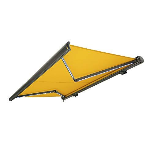 Nemaxx Kassettenmarkise elektrisch Vollkassettenmarkise mit LED, Markise gelb, Kassette anthrazit, Funk Fernbedienung, wasserdicht 400x300 cm (4x3m)