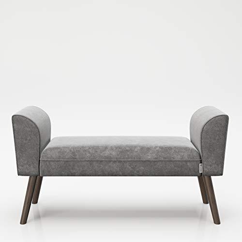 PLAYBOY Sitzbank mit Samtüberzug in Grau und stabilen Massivholzfüssen, gepolsterte Bank aus Stoff, Sitzhocker, Fusshocker mit Samt, Retro-Design, Club-Stil für Diele- und Eingangsbereich