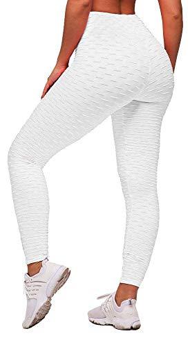 Memoryee Panal arrugado para nalgas de las mujeres leggings Levante los pantalones de yoga de cintura alta Elegante con gimnasio de control de la barriga (Blanco, S)