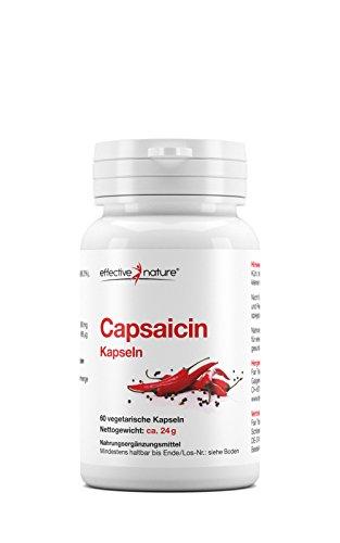 effective nature Capsaicin aus Cayenne-Pfeffer | konzentrierte Schärfe | hochdosiert | 24000 Scoville Heat Units (SHU) | perfekte Alternative zur Master-Cleanse-Diät | 60 vegane Kapseln