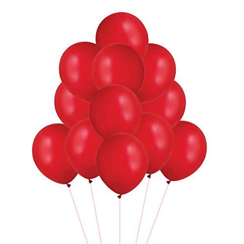 VAIOUS 100 Globos de Látex Elástico,25 cm,8 Pulgadas,Color Liso-Rojo