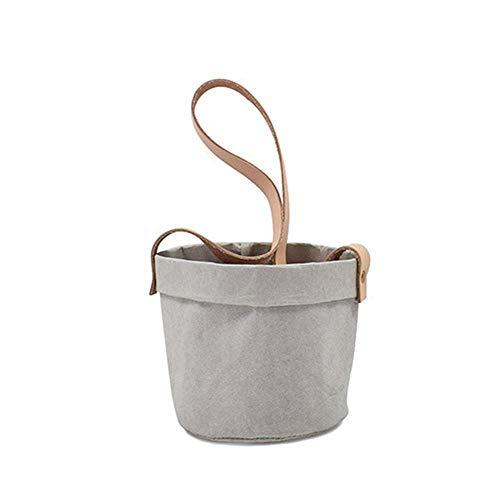 JXJTHPDraagbare papieren zak van antraciet, bloemenmand, kraftpapierzak, hangende bloementas, milieubescherming, bloementas B.