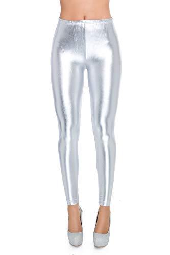 FUTURO FASHION Damen Slim Leggings Gr. 38, Silver Classic Waist