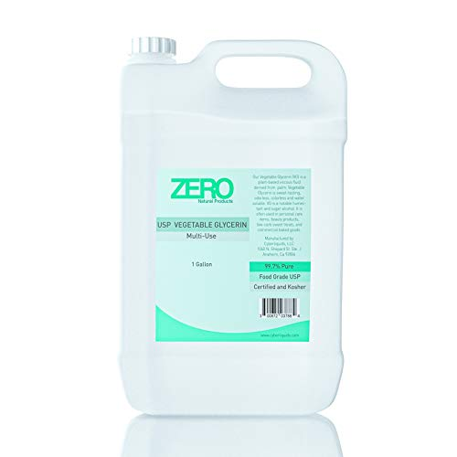 Zero Natural Products Vegetable Glycerin (1 Gallon) USP Certified Kosher 99.7% Pure - Contains NO ALOCOHOL - Water Soluble, Humectant, for use in Skin & Hair Products, & Great for Soap Base