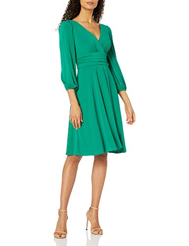 Eliza J Women's Faux Wrap Balloon Sleeve Fit & Flare Dress Casual, Green, 18