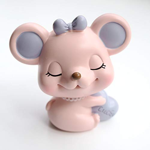 Cartoon Mouse Poses A Shake-up Doll Car Inside Jewelry Zodiac Mouse Creative Cute Desktop Decoration Gift Pink Lucky Rat