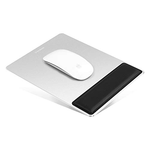 Metal Mouse Pad with Wrist Support, Aluminum Mouse Mat with Ergonomic EVA Foam Wrist Rest,Hard Metal Smooth Surface & Non-Slip PU Leather Base Fast and Accurate Control for Gaming and Office