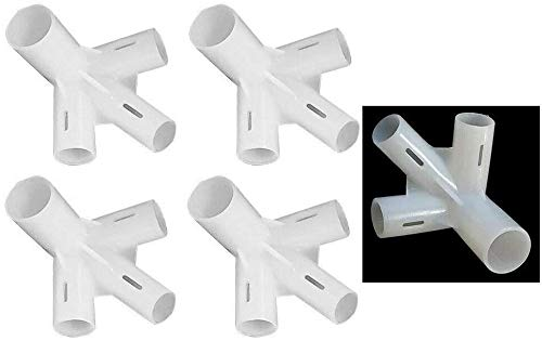 Gazebo Spare Parts 4 Way Connector 32mm x 25mm x 19mm x4 Gazzebo Parasol Tent Shade Canopy Corner Adaptor Pole Connecter White
