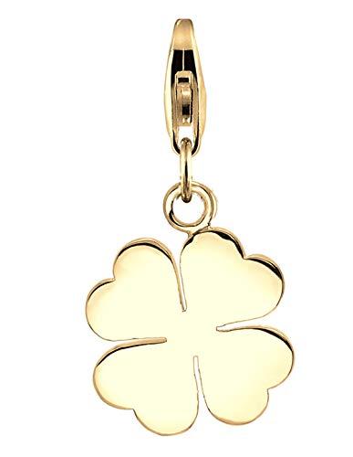 Nenalina Kleeblatt Charm vergoldet aus 925 Sterling Silber für Damen, Glücksbringer Charm passend für alle gängigen Charmträger und Bettelarmband, Farbe Gold, 0403511419