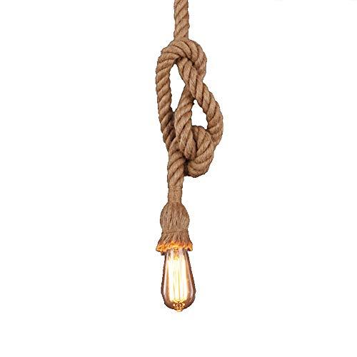 1 Stück Industrielles Hängeleuchte Pendelleuchte, Vintage Seil Hängelampe HanfSeil-hängendes Licht für Halle, Restaurant, Stab, Café, AC90-220V E27