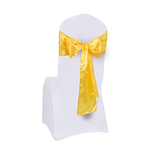 LAIQIAN Stuhlabdeckung Sash Bögen, Rosa 100 Stücke 17x275cm Premium Satin Stuhlabdeckung Sash Bogen Hochzeit Party Bankett Dekor Stuhl Schärpen (Color : Yellow)