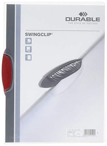 DURABLE 2260/32 Hunke & Jochheim Klemm-Mappe SWINGCLIP®, PP, 1-30 A4 Blatt, rote Klemme, Mappe transparent