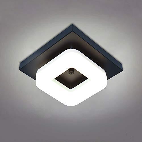 BYX Lámpara de techo con pantalla de acrílico, luz de techo cuadrada brillante de 12 W LED 6000K para pasillo de balcón, lámpara de techo empotrada/montada en superficie (7.86')