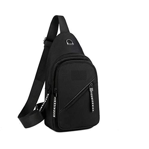 Nowbetter Bolso bandolera para hombre impermeable de nailon con gran capacidad para senderismo, caminar y diseñar auriculares, color negro-a, negro-a (Negro) - V1XBU8LCKA